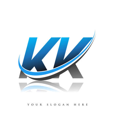KK initial logo company name colored blue and black swoosh design, isolated on white background. vector logo for business and company identity.