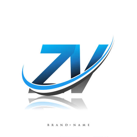 ZV initial logo company name colored blue and black swoosh design, isolated on white background. vector logo for business and company identity. Logo