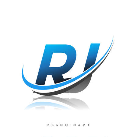 RJ initial logo company name colored blue and black swoosh design, isolated on white background. vector logo for business and company identity. Logo