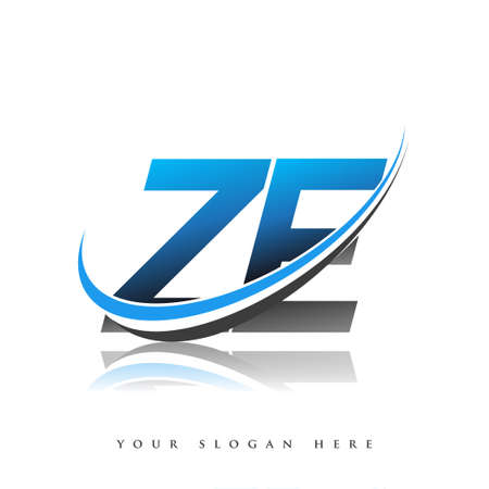 ZE initial logo company name colored blue and black swoosh design, isolated on white background. vector logo for business and company identity.