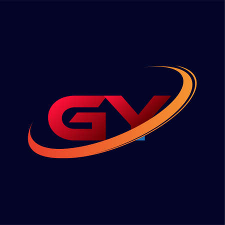 initial letter GY logotype company name colored red and orange swoosh design. isolated on dark background.