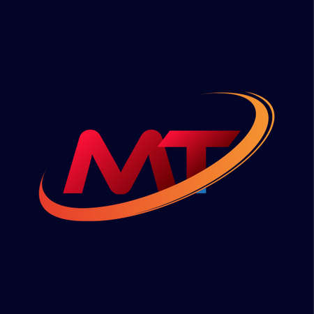 initial letter MT logotype company name colored red and orange swoosh design. isolated on dark background.