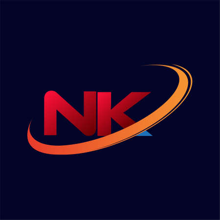 initial letter NK logotype company name colored red and orange swoosh design. isolated on dark background.