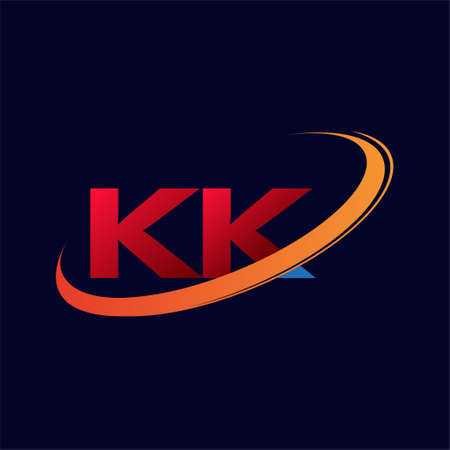 initial letter KK logotype company name colored red and orange swoosh design. isolated on dark background.