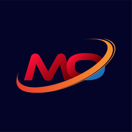 initial letter MO logotype company name colored red and orange swoosh design. isolated on dark background.