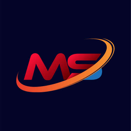 initial letter MS logotype company name colored red and orange swoosh design. isolated on dark background.