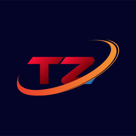 initial letter TZ logotype company name colored red and orange swoosh design. isolated on dark background.