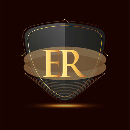 Initial logo letter ER with shield Icon golden color isolated on dark background, logotype design for company identity.