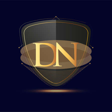 Initial logo letter DN with shield Icon golden color isolated on dark background, logotype design for company identity.