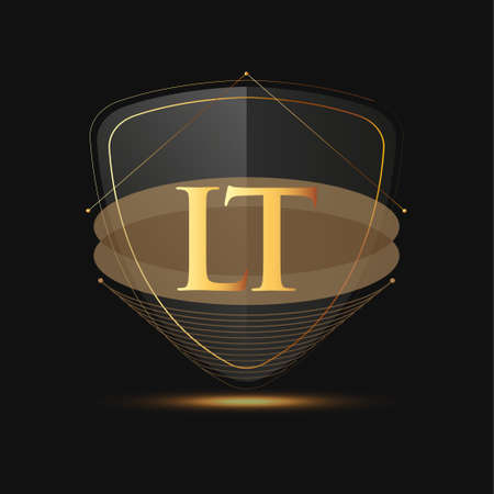 Initial logo letter LT with shield Icon golden color isolated on dark background, logotype design for company identity.
