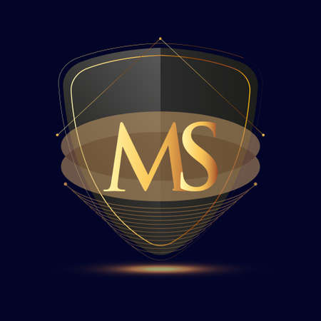 Initial logo letter MS with shield Icon golden color isolated on dark background, logotype design for company identity. 向量圖像