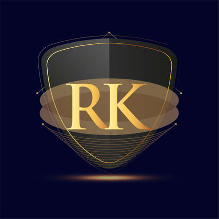 Initial logo letter RK with shield Icon golden color isolated on dark background, logotype design for company identity. Logó