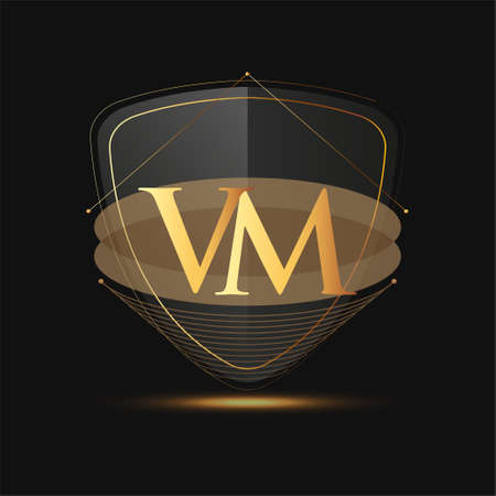 Initial logo letter VM with shield Icon golden color isolated on dark background, logotype design for company identity.