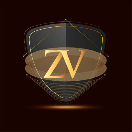 Initial logo letter ZV with shield Icon golden color isolated on dark background, logotype design for company identity.