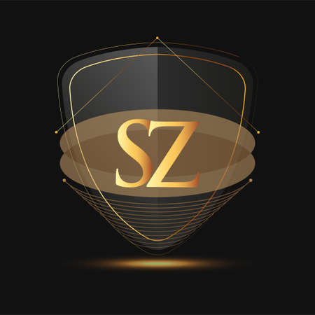 Initial logo letter SZ with shield Icon golden color isolated on dark background, logotype design for company identity.