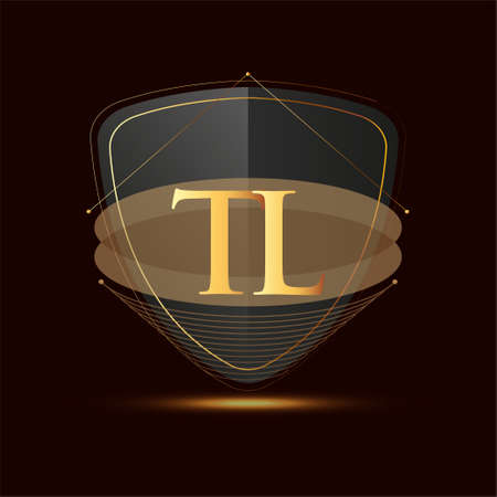 Initial logo letter TL with shield Icon golden color isolated on dark background, logotype design for company identity.