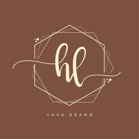 HL Initial handwriting logo. Hand lettering Initials logo branding, Feminine and luxury logo design.