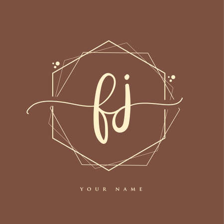 FJ Initial handwriting logo. Hand lettering Initials logo branding, Feminine and luxury logo design.