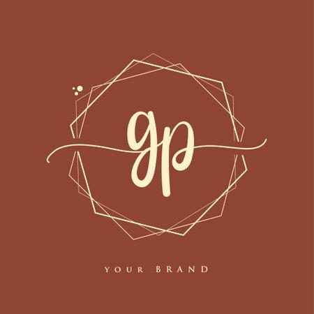 GP Initial handwriting logo. Hand lettering Initials logo branding, Feminine and luxury logo design.