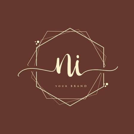 NI Initial handwriting logo. Hand lettering Initials logo branding, Feminine and luxury logo design.
