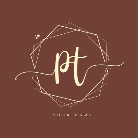 PT Initial handwriting logo. Hand lettering Initials logo branding, Feminine and luxury logo design. Logó