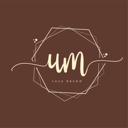 UM Initial handwriting logo. Hand lettering Initials logo branding, Feminine and luxury logo design. Logo