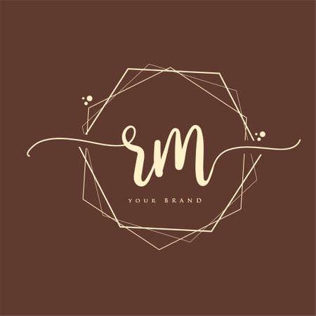 RM Initial handwriting logo. Hand lettering Initials logo branding, Feminine and luxury logo design. Logó