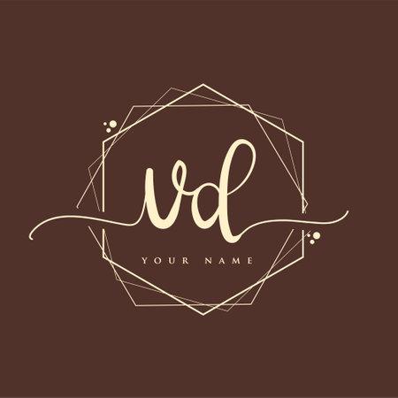 VD Initial handwriting logo. Hand lettering Initials logo branding, Feminine and luxury logo design. Logó