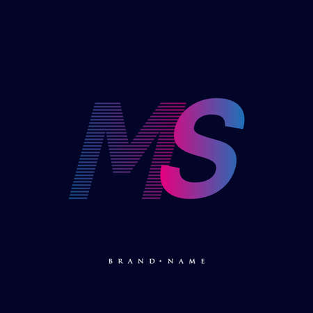 initial letter logo MS colored blue and magenta with striped composition, Vector logo design template elements for your business or company identity.