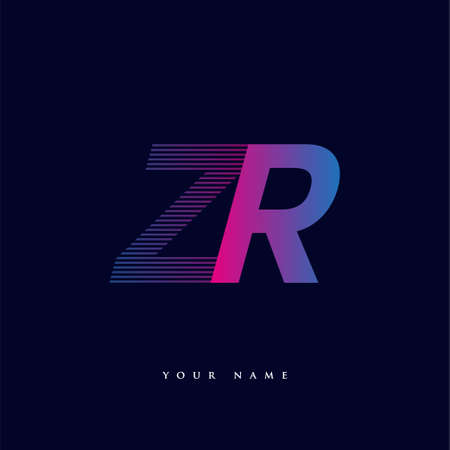 initial letter logo ZR colored blue and magenta with striped composition, Vector logo design template elements for your business or company identity.
