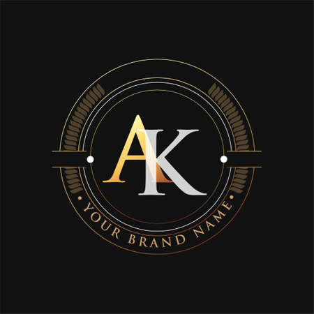 initial letter logo AK gold and white color, with stamp and circle object, Vector logo design template elements for your business or company identity.
