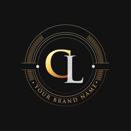 initial letter logo CL gold and white color, with stamp and circle object, Vector logo design template elements for your business or company identity.