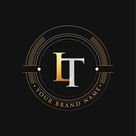 initial letter logo LT gold and white color, with stamp and circle object, Vector logo design template elements for your business or company identity.
