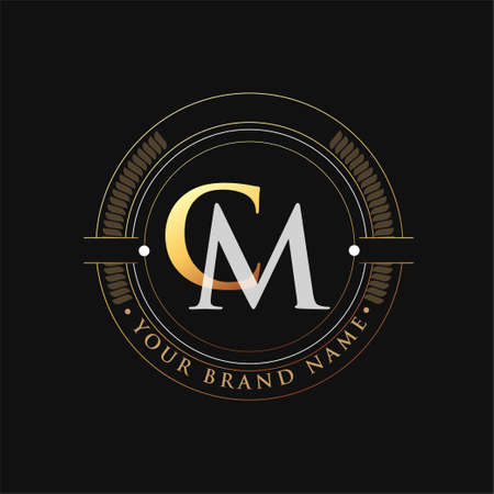 initial letter logo CM gold and white color, with stamp and circle object, Vector logo design template elements for your business or company identity.