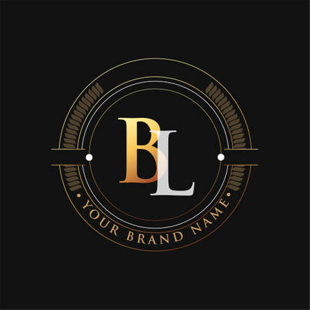 initial letter logo BL gold and white color, with stamp and circle object, Vector logo design template elements for your business or company identity.