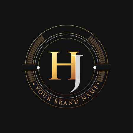 initial letter logo HJ gold and white color, with stamp and circle object, Vector logo design template elements for your business or company identity.