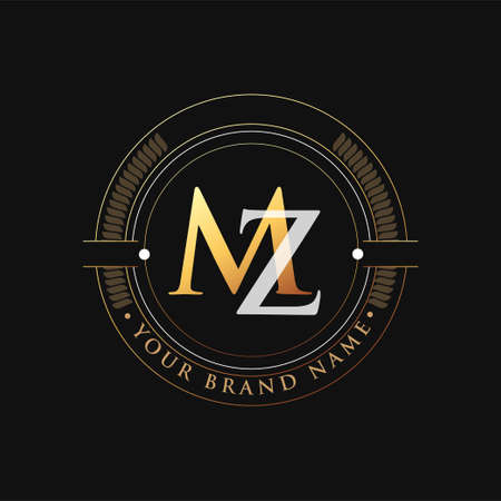 initial letter logo MZ gold and white color, with stamp and circle object, Vector logo design template elements for your business or company identity.