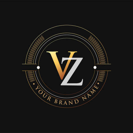 initial letter logo VZ gold and white color, with stamp and circle object, Vector logo design template elements for your business or company identity.