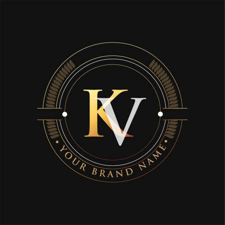 initial letter logo KV gold and white color, with stamp and circle object, Vector logo design template elements for your business or company identity.