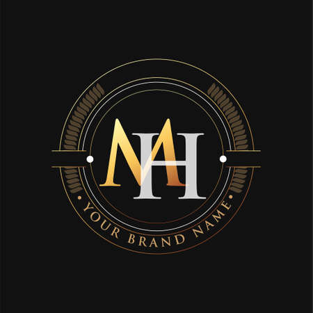 initial letter logo MH gold and white color, with stamp and circle object, Vector logo design template elements for your business or company identity.