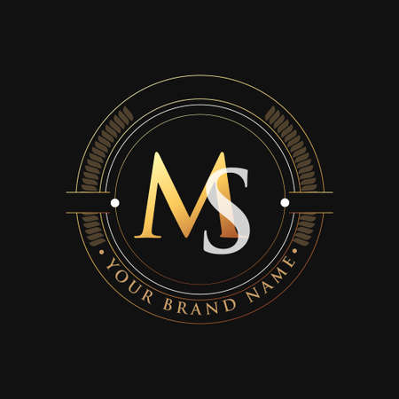 initial letter logo MS gold and white color, with stamp and circle object, Vector logo design template elements for your business or company identity.
