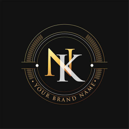 initial letter logo NK gold and white color, with stamp and circle object, Vector logo design template elements for your business or company identity. Logó