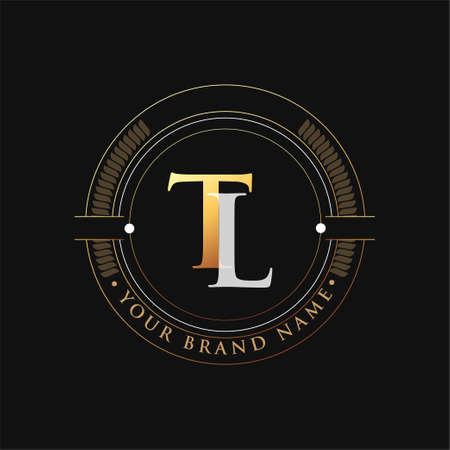 initial letter logo TL gold and white color, with stamp and circle object, Vector logo design template elements for your business or company identity.