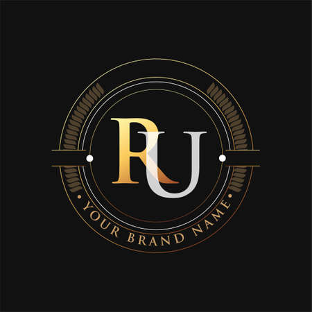 initial letter logo RU gold and white color, with stamp and circle object, Vector logo design template elements for your business or company identity.