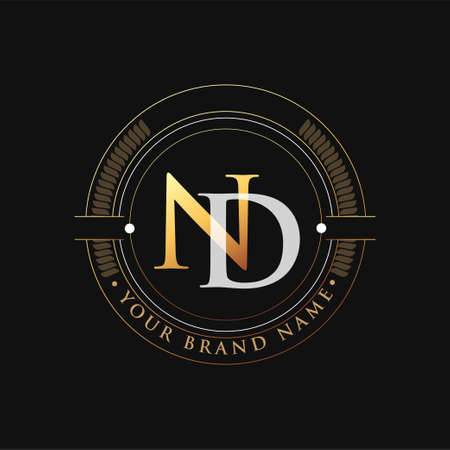 initial letter logo ND gold and white color, with stamp and circle object, Vector logo design template elements for your business or company identity. Logó