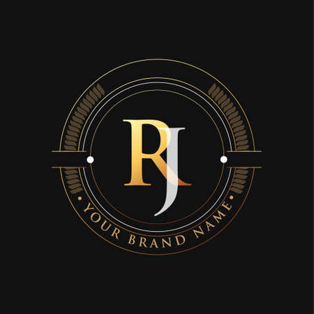 initial letter logo RJ gold and white color, with stamp and circle object, Vector logo design template elements for your business or company identity.