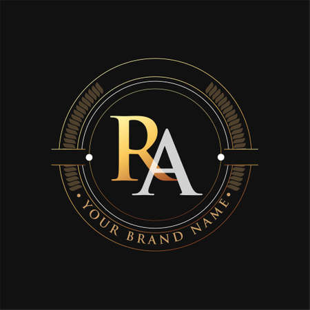 initial letter logo RA gold and white color, with stamp and circle object, Vector logo design template elements for your business or company identity. Logo