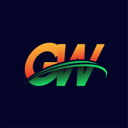 initial logo GW company name colored orange and green swoosh design, isolated on dark background. vector logo for business and company identity.