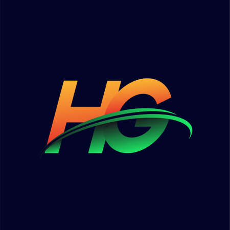 initial logo HG company name colored orange and green swoosh design, isolated on dark background. vector logo for business and company identity.