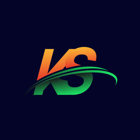 initial logo KS company name colored orange and green swoosh design, isolated on dark background. vector logo for business and company identity.